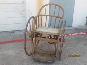 ANTIQUE WOODEN 3 WHEEL WHEELCHAIR BY FORD JOHNSO CO.